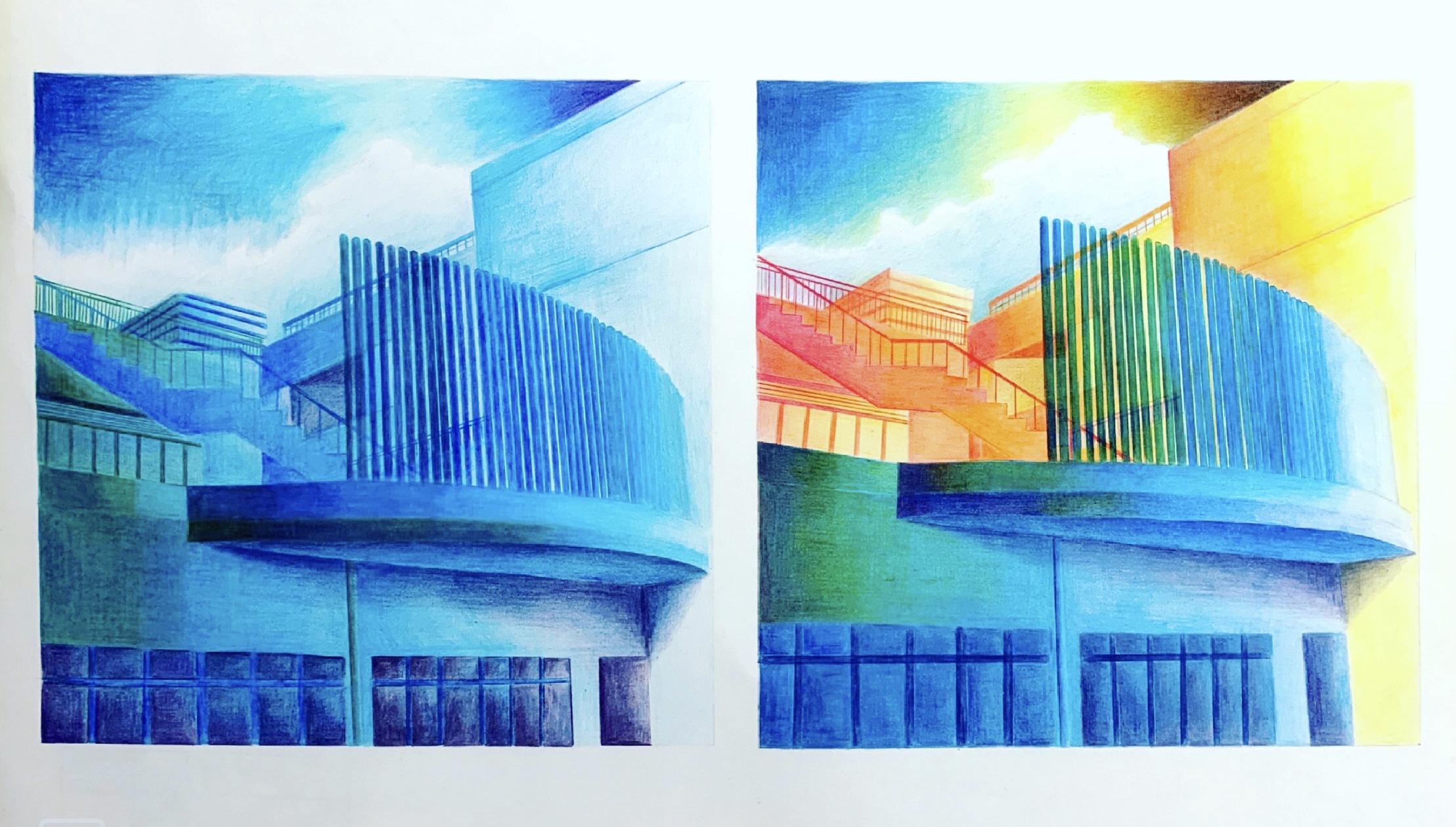 校舎の色彩表現:左が青系統色のみで表現