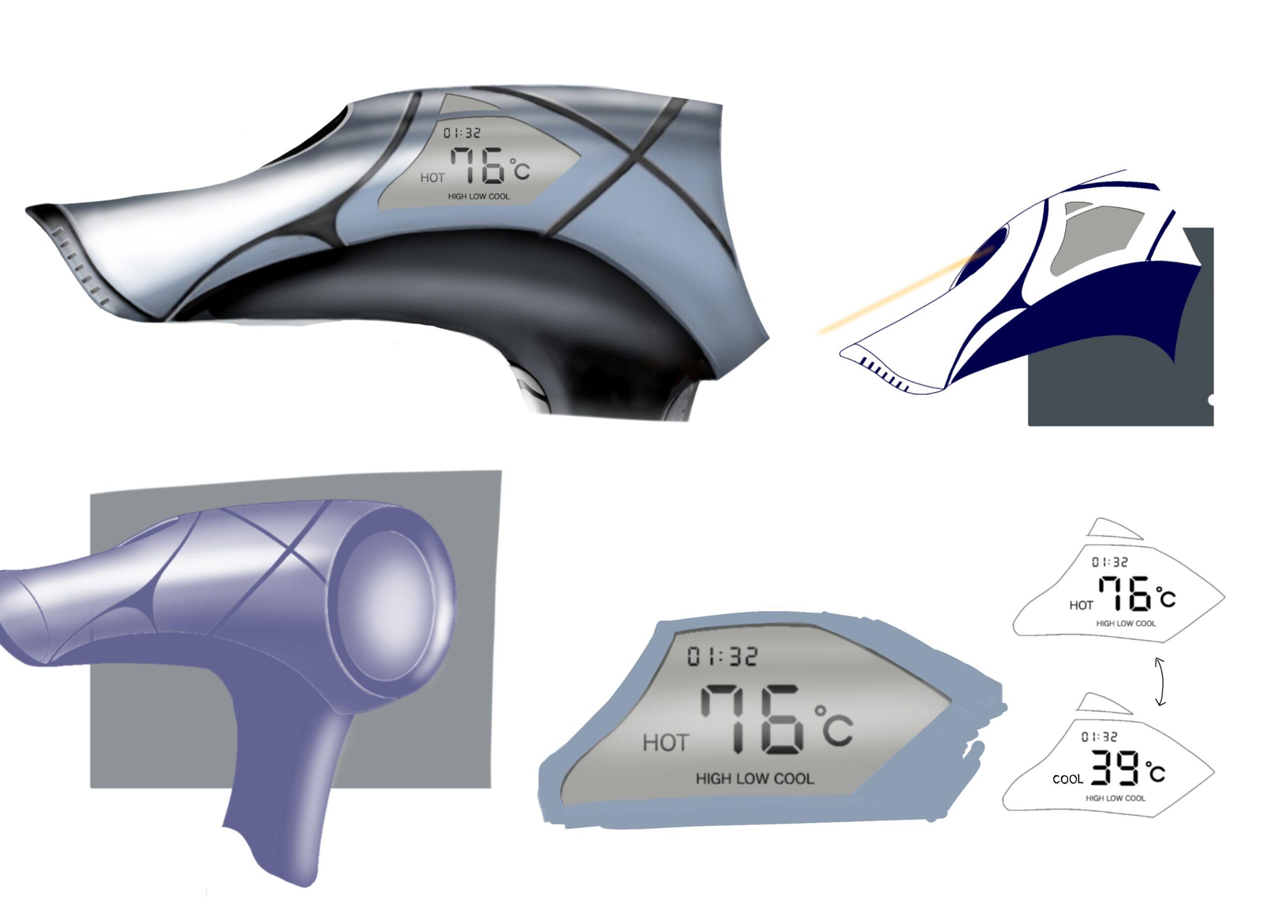 温度感知センサー(右上図)で、ドライヤーの風を常に適切な温度に調節。モニター:使用時間と現在の温度を表示