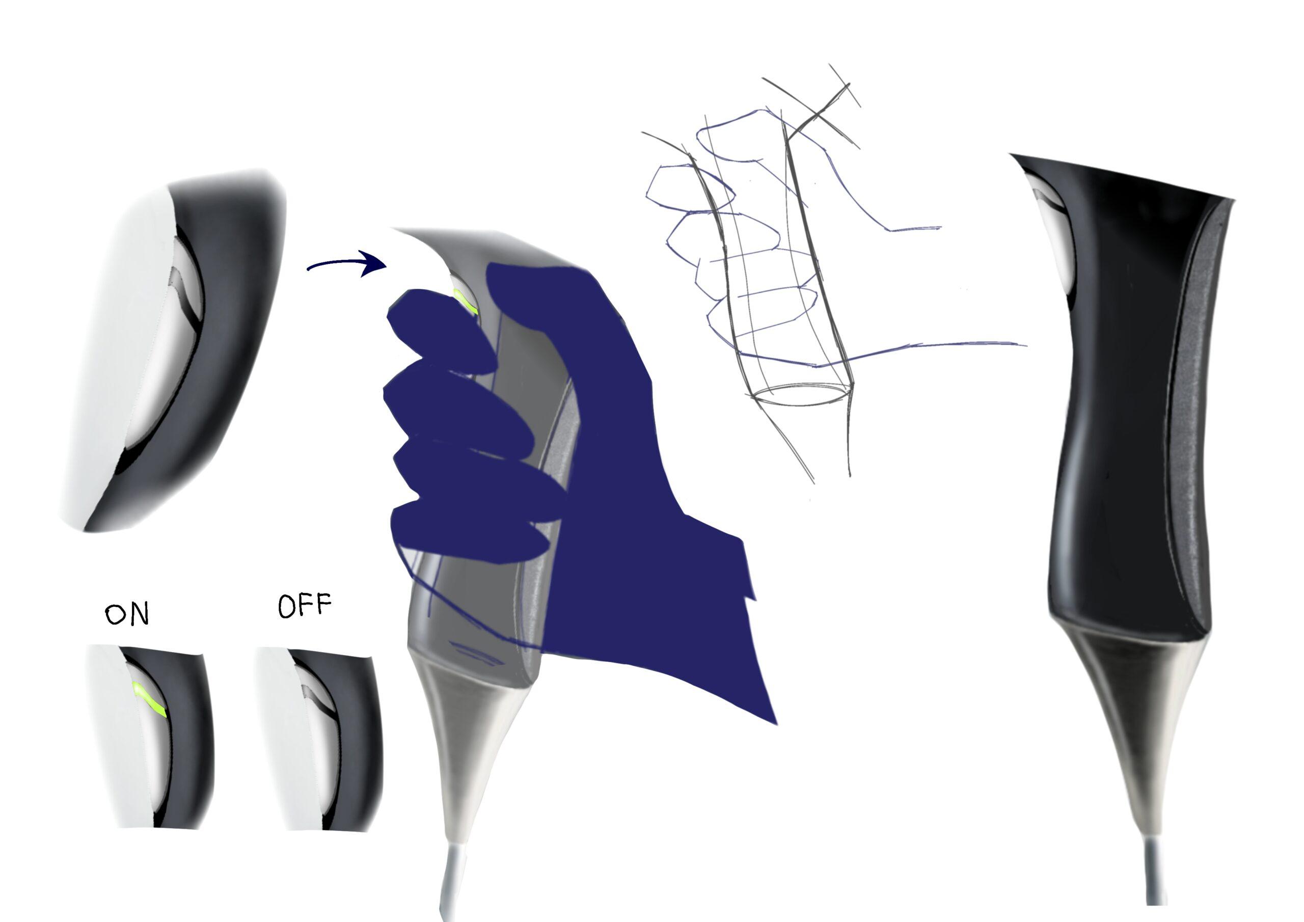 スイッチ部分に指をかざしている間、自動で送風し、離すと停止する。手の形に合わせて持ちやすいフォルムを選択。